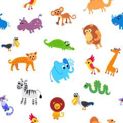 Keuken foto achterwand Dinosaurs Wild Africa animals seamless pattern in flat style