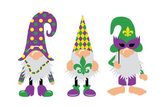Mardi Gras Gnomes with mask, fleur de lis, & heart
