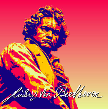 Ludwig van Beethoven, editable with five colour layers