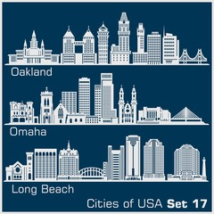 Cities of USA - Oakland, Long Beach, Omaha. Detailed architecture. Trendy vector illustration.