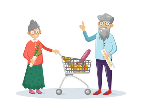 Elderly couple doing shopping at supermarket vector