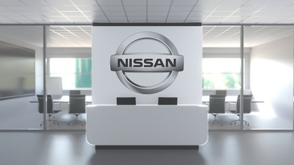 NISSAN logo above reception desk in the modern office, editorial conceptual 3D rendering