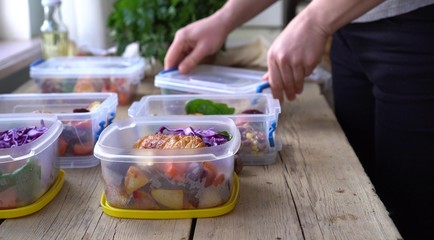 Foto op Plexiglas Kruidenierswinkel Weekend meal prep for weight loss. Portion Control. Healthy homemade workout food