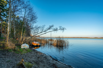 The tranquil Weltynskie Jezioro lake near Gryfino in Poland