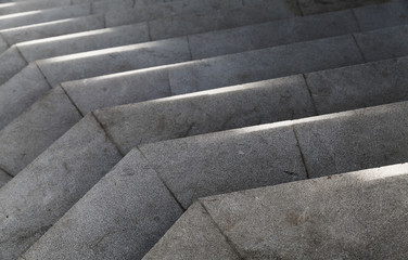 Wall Mural - Empty stone stairs with bright sunlight pattern