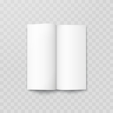 Open book mock up isolated on transparent background. Realistic blank vertical booklet, catalog template, magazine, brochure or notebook mockup..