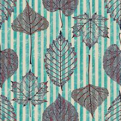 Autumn transparent leaf skeleton striped seamless pattern