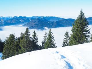 Inversionswetterlage im Winter in den Bayerischen Alpen