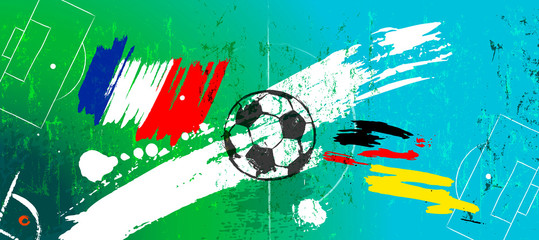abstact background, with soccer/football, with paint strokes and splashes, great soccer event, france vs. germany