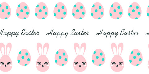 Easter seamless border with easter eggs, bunny and text. Hand drawn on white background.