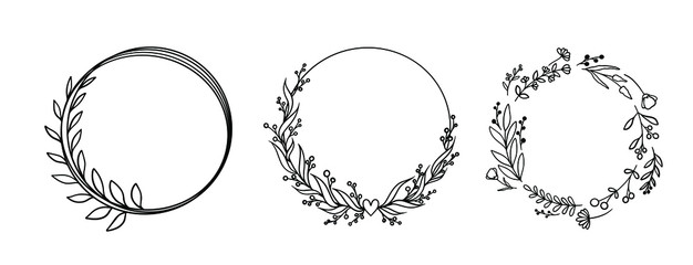 vector circle graphic frames. Wreaths for design, logo template. Fotomurales