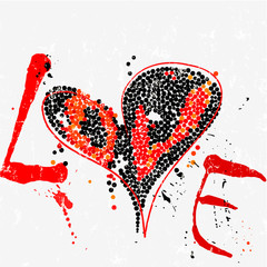 love concept, colorful heart with dots/circles, paint strokes and splashes, grungy