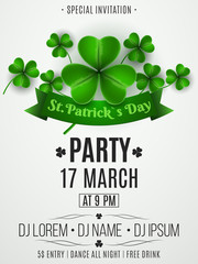 Patrick's day party flyer. Clovers and ribbon banner with text. Festive template for your project. DJ abd club name. Club invitation. Vector illustration