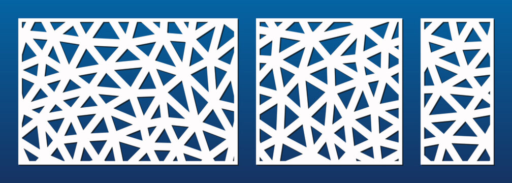 Laser cut panel. Cutout silhouette with abstract geometric pattern, lines, triangles, grid. Decorative template for wood, metal cutting, engraving, fretwork, carving. Aspect ratio 3:2, 1:1, 1:2