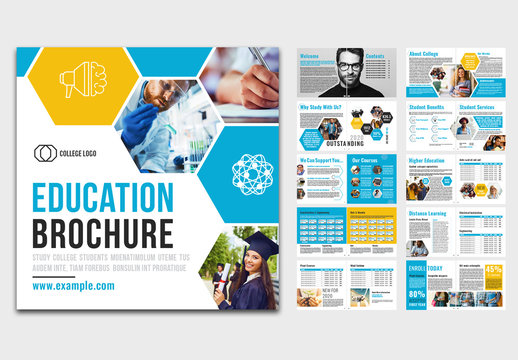 Education Brochure Layout with Blue and Orange Accents