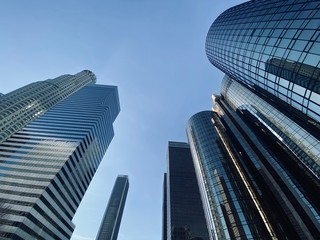 LOS ANGELES, CA, JAN 2020: looking up at hotel and office windows of skyscrapers in the Financial District of Downtown