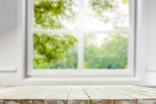 Table background of free space and white window window .
