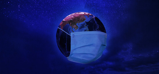 View of Earth from space with medical mask in neon tone. Concept of corona virus. Elements of this image furnished by NASA