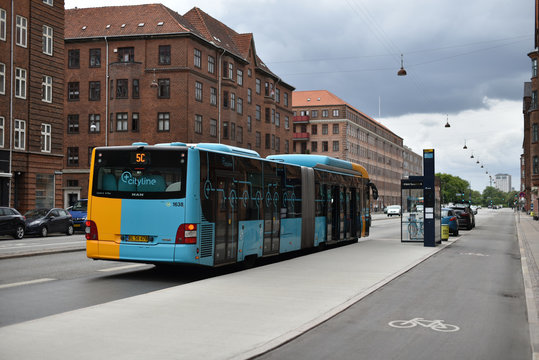 Copenhagen / Denmark - 07.22.19: Articulated bus MAN Lion's City CNG on bus stop