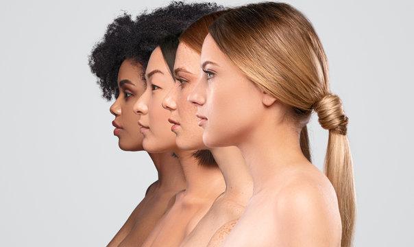Beautiful multiethnic women standing in row