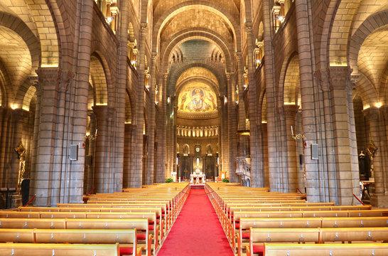 Interior of the Monaco Cathedral (Cathedrale de Monaco) in Monaco-Ville, Monaco. It's famous for the tomb of Prince Rainier