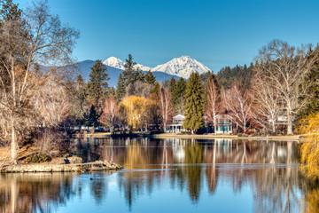 Aluminium Prints Salmon Mirror Pond at Drake Park Mountain View in Bend, Oregon