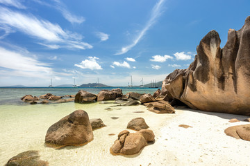 Sailing boats in Seychelles, Curieuse island, Anse St. Jose beach