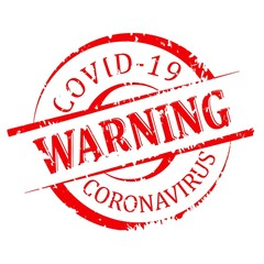 Red round damaged stamped - warning covid 19 - vector