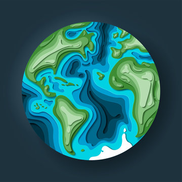 Planet earth in 3d paper cut style. World globe in space. Eco friendly concept for logotype. Vector illustration. Earth day illustration, save mother earth.