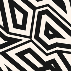 Black and white geometric seamless pattern. Vector abstract background with geometrical mosaic elements, angular shapes, broken lines. Simple monochrome texture. Repeat design for decor, prints, wrap