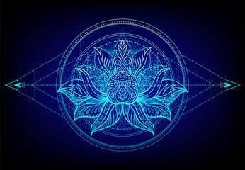 Foto op Canvas Boho Stijl Vector ornamental Lotus flower, ethnic art, patterned Indian paisley. Hand drawn illustration. Invitation element. Tattoo, astrology, alchemy, boho and magic symbol. Gradient over black.