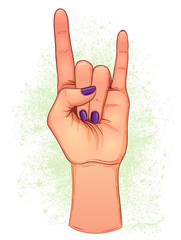 Rock and roll sign. Hand drawn illustration of human hand showing sign of the horns. Gesture of Heavy metal culture. Raised hand as a rock and roll sign.