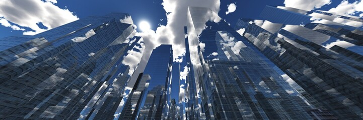 Wall Mural - Panorama of beautiful skyscrapers against the sky with clouds. 3d rendering.