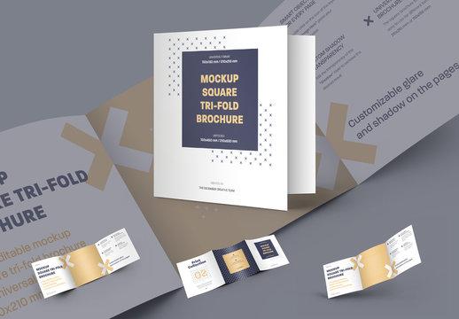 5 Square Trifold Brochure Mockups