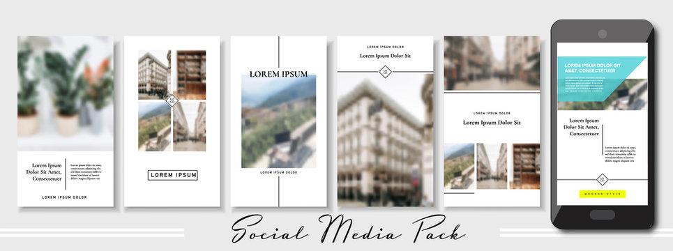 social media banner. Set of beige pastel stories and post frame photo templates. Vector cover. Endless puzzle layout for promotion. Design blur wallpaper web pack. Mockup for personal blog, shop. a4