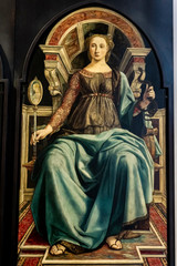 Prudence, from panels depicting the Virtues in Uffizi Gallery in Florence, Italy