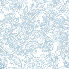 Foto auf AluDibond Boho-Stil Paisley ethnic seamless pattern with floral elements.