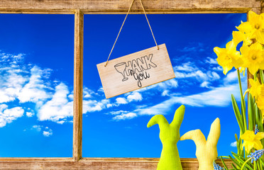 Sign With English Calligraphy Thank You. Vintage Rustic Window Frame With View To Blue Sky