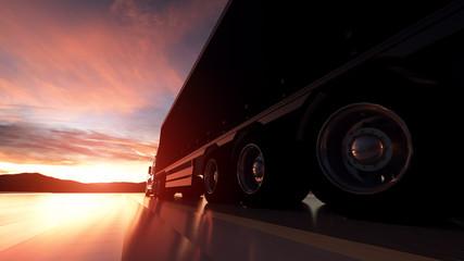 Semi Truck Wheels Closeup on asphalt road highway at sunset - transportation background. 3d illustration