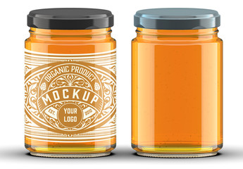 Cylindrical Honey Jar Mockup