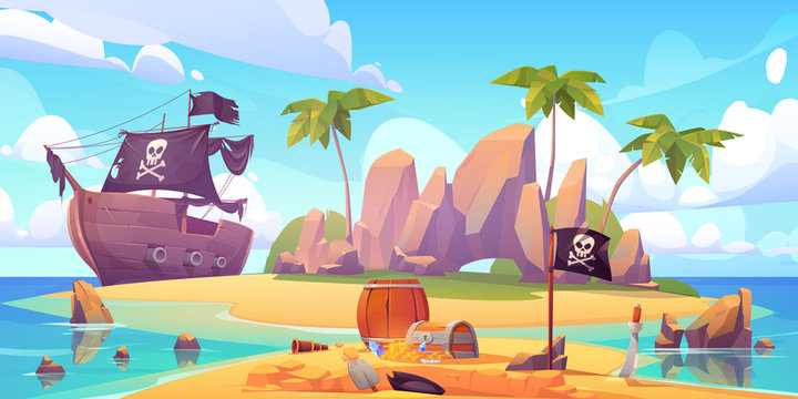 Pirate buries treasure chest on island beach. Vector cartoon illustration of sea landscape with wooden ship with skull on black sails, uninhabited tropical island and capitan hat in dug hole