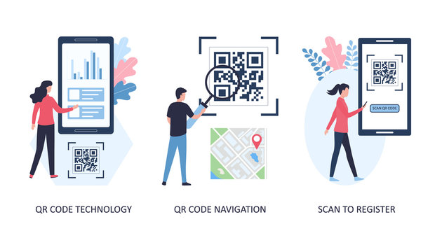 Concepts QR code navigation, registration and technology. Set of 3 images. Search for roads using a code scan, register on sites. Flat vector illustration isolated on white background.