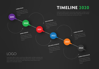 Dark Gray Infographic Layout with Multicolored Call-Out Elements