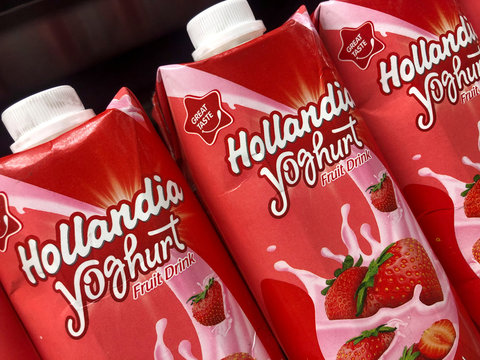 Hollandia yogurts by Chi Limited are pictured in the supermarket in Abuja,