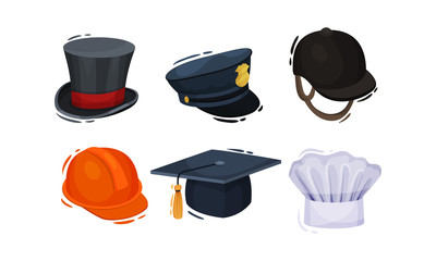 Professional Headwear for Various Occupations Isolated on White Background Vector Set