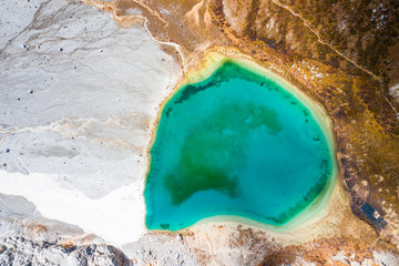 Nature texture, Beautiful Autumn scene captured by drone in Yading Nature reserve in Sichuan, China mainland