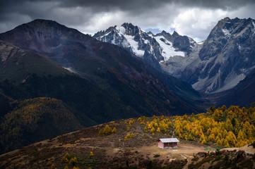 Baimang Snow Mountain view in Autumn in Shangri-la county, Deqen, Yunnan, China.
