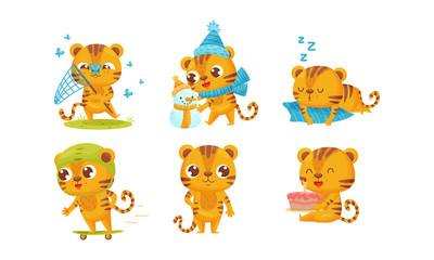 Cartoon Tiger Cub Catching Butterflies with Net and Building Snowman Vector Set