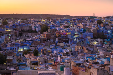 The Blue City in, Jodhpur, Rajasthan state, India