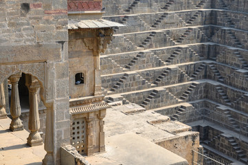 Chand Baori Stepwell in the village of Abhaneri, Rajasthan, India